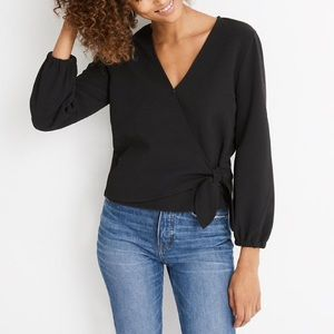Texture & Thread Madewell Black Crepe Wrap Top